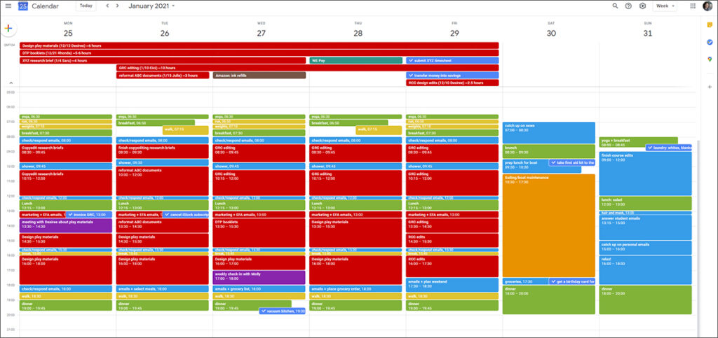 Screenshot of my online calendar as one of my time management tools for freelancers