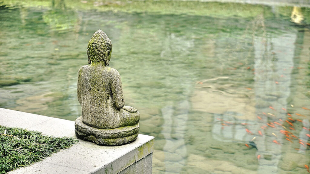 A statue of the Buddha demonstrates the right view as it overlooks a large coy pond.